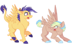 Size: 2944x1804 | Tagged: safe, artist:maiachlte, oc, oc only, oc:sandstorm winds, oc:shooting star, pegasus, pony, blank flank, chest fluff, colored hooves, colt, leonine tail, magical lesbian spawn, male, offspring, parent:flash sentry, parent:lightning dust, parent:rainbow dash, parent:twilight sparkle, parents:flashlight, parents:rainbowdust, simple background, tail feathers, white background