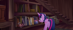 Size: 1920x804   Tagged: safe, screencap, twilight sparkle, alicorn, mouse, pony, my little pony: the movie, ball, book, bookshelf, butt, capper's house, carpet, cat toy, female, mare, plot, rug, scroll, solo, staircase, stairs, string, toy, twilight sparkle (alicorn), wind up key, yarn, yarn ball