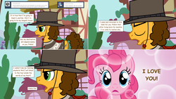 Size: 2564x1444 | Tagged: artist:hakunohamikage, ask, ask-princesssparkle, cheesepie, cheese sandwich, clothes, female, hat, male, pinkie pie, pony, saddle, safe, shipping, straight, tack, the pony with no name, tumblr