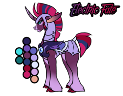 Size: 2176x1700 | Tagged: artist:thebigearredbat, darkverse, magical lesbian spawn, my little pony: the movie, oc, oc:electric fate, oc only, offspring, parents:tempestlight, parent:tempest shadow, parent:twilight sparkle, safe, simple background, solo, transparent background