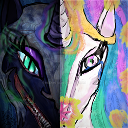 Size: 1024x1024 | Tagged: safe, artist:hezakota, nightmare moon, princess celestia, duality, split screen