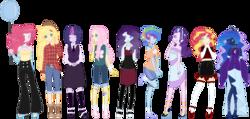 Size: 900x428 | Tagged: safe, artist:harvest-m00n, artist:stephlovesspiders, applejack, fluttershy, pinkie pie, princess luna, rainbow dash, rarity, starlight glimmer, sunset shimmer, twilight sparkle, equestria girls, base used, mane six, simple background, transparent background