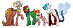 Size: 1311x500 | Tagged: safe, artist:derpydinosaurus, oc, oc only, oc:bismuth, oc:kyllian, oc:lucky paint, oc:sphintus, simple background, transparent background