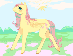 Size: 688x528 | Tagged: safe, artist:godlydescentufo, fluttershy, pegasus, pony, cloud, colored hooves, female, mare, mountain, sky, solo, spring, sun, underhoof