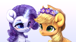 Size: 2068x1156 | Tagged: safe, artist:graypillow, applejack, rarity, earth pony, pony, unicorn, :p, blushing, cowboy hat, cute, female, floral head wreath, flower, freckles, glowing horn, gradient background, hat, horn, lesbian, magic, mare, rarijack, shipping, silly, simple background, smiling, telekinesis, tongue out, white background