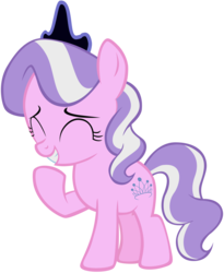 Size: 3216x3928 | Tagged: accessory swap, artist:liggliluff, crown, diamond tiara, earth pony, edit, editor:slayerbvc, female, filly, giggling, jewelry, pony, regalia, safe, simple background, solo, transparent background, vector, vector edit