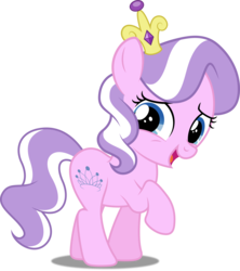 Size: 4425x4976 | Tagged: safe, artist:dashiesparkle, artist:spacekingofspace, edit, editor:slayerbvc, vector edit, diamond tiara, earth pony, pony, absurd resolution, accessory swap, crown, female, filly, jewelry, raised hoof, regalia, simple background, solo, transparent background, vector