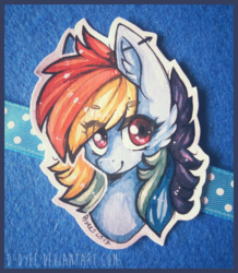 Size: 1159x1331 | Tagged: artist:d-dyee, fluffy, looking at you, rainbow dash, safe, solo, traditional art