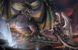 Size: 3026x1959 | Tagged: anthro, artist:blvckmagic, commission, crossover, elder dragon, male, monster hunter, monster hunter world, nergigante, oc, oc only, pegasus, safe, stallion, weapon