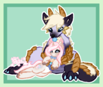 Size: 1500x1284 | Tagged: artist:pastel-pony-princess, bell, collar, cute, diamond dog, monster hunter, oc, oc:cookie dough, oc:zinogre, safe, simple background, size difference, unicorn, zinogre