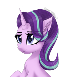 Size: 1693x1694 | Tagged: artist:queenofsilvers, chest fluff, ear fluff, female, fluffy, heart eyes, horn, mare, pony, safe, simple background, smiling, solo, starlight glimmer, transparent background, unicorn, wingding eyes