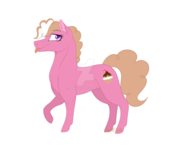 Size: 1600x1356 | Tagged: artist:detoxx-retoxx, earth pony, female, mare, oc, oc:cream puff, oc only, offspring, parent:cheese sandwich, parent:pinkie pie, parents:cheesepie, pony, safe, simple background, solo, tongue out, transparent background, watermark