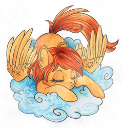 Size: 1022x1066 | Tagged: source needed, safe, artist:red-watercolor, oc, oc only, oc:firetale, pegasus, pony, cloud, cute, female, mare, simple background, sleeping, solo, traditional art, watercolor painting, white background, wings