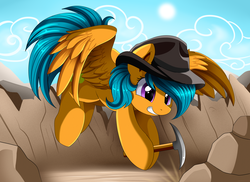 Size: 3509x2550 | Tagged: safe, artist:pridark, drizzledrips, oc, oc:sunstone, pegasus, pony, background pony, commission, female, hat, pickaxe, sky, solo, sun