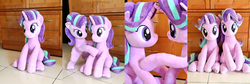 Size: 3064x1024   Tagged: safe, artist:nekokevin, starlight glimmer, pony, unicorn, cute, duo, female, glimmerbetes, irl, looking at each other, looking at you, mare, photo, plushie, raised hoof, self ponidox, sitting, smiling
