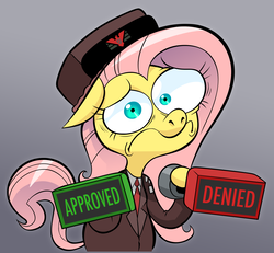 Size: 4648x4302 | Tagged: absurd res, anxiety, anxious, artist:hotdiggedydemon, bipedal, clothes, crossover, fascist, fascist symbol, female, floppy ears, fluttershy, frown, glory to arstotzka, gradient background, gray background, hat, hoof hold, inspector, looking at you, mare, mismatched eyes, nervous, papers please, parody, pegasus, pony, safe, solo, stamp, stamp of approval, uniform, vannamelon, wide eyes