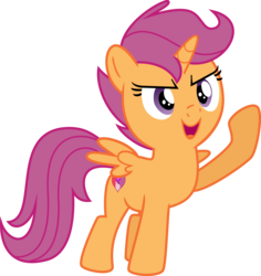 Size: 4477x4734 | Tagged: absurd res, alicorn, alicornified, artist:datapony, edit, editor:slayerbvc, female, filly, race swap, raised hoof, safe, scootacorn, scootaloo, simple background, solo, this will end in hugs, transparent background, vector, vector edit