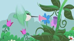 Size: 1280x720 | Tagged: safe, screencap, bird, hummingbird, the ticket master, animal, flower, flying, solo