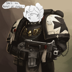 Size: 894x894 | Tagged: artist:fonteart, artist:tjpones, black templars, bolter, dialogue, earth pony, edit, editor:gaycocksmcfagsalot, frown, glare, gun, oc, oc:brownie bun, oc only, open mouth, pony, safe, solo, space marine, warhammer 40k, warhammer (game), weapon