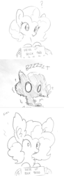 Size: 981x2672 | Tagged: artist:tjpones, chest fluff, comic, ear fluff, earth pony, electricity, electrocution, extra fluffy, female, fluffy, fluffy mane, frown, grayscale, impossibly large ears, machine, mare, monochrome, onomatopoeia, pinkie pie, pony, question mark, safe, shock, shocked, simple background, smiling, smoke, solo, style emulation, text, traditional art, white background, wide eyes
