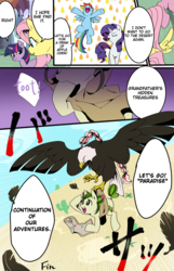 Size: 772x1200 | Tagged: safe, artist:potetecyu_to, fluttershy, rainbow dash, rarity, twilight sparkle, oc, oc:saboco, bird, cactus pony, eagle, earth pony, pegasus, pony, unicorn, cactus, canteen, cloak, clothes, comic, desert, engrish, female, flying, japanese, map, mare