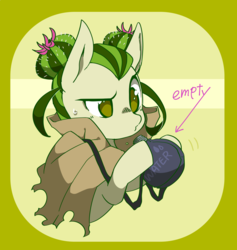 Size: 1137x1200 | Tagged: safe, artist:potetecyu_to, oc, oc:saboco, cactus pony, canteen, cloak, clothes, female, mare, solo