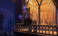 Size: 4700x2895 | Tagged: alcohol, artist:rodrigues404, canterlot, clothes, glass, magic, male, night, oc, oc:midnight emissary, outdoors, pony, safe, stallion, suit, telekinesis, unicorn, unshorn fetlocks, wine, wine glass