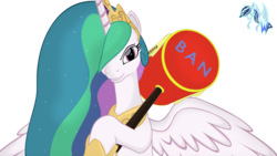 Size: 3200x1800 | Tagged: safe, artist:spyrolinkgame, artist:wolyro pegasus, princess celestia, alicorn, pony, banhammer, female, grin, hair over one eye, hammer, looking at you, mare, simple background, smiling, spread wings, this will end in journey to the moon, transparent background, wings, you dun goofed