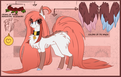 Size: 1024x657 | Tagged: artist:yerachan, chest fluff, collar, colored hooves, colored wings, colored wingtips, ear fluff, female, fluffy, heterochromia, long hair, long tail, looking at you, mare, oc, oc:aki, oc only, pegasus, pet tag, pony, reference sheet, safe, socks (coat marking), solo, two toned wings