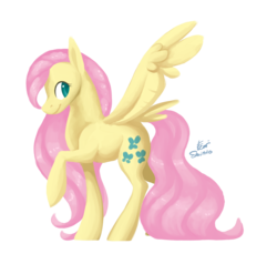 Size: 3200x3050 | Tagged: safe, artist:eeviart, fluttershy, pegasus, pony, alternate cutie mark, colored pupils, female, looking away, looking sideways, mare, raised hoof, simple background, smiling, solo, spread wings, standing, tail feathers, transparent background, wings