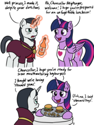 Size: 1280x1707 | Tagged: alicorn, artist:mkogwheel, burger, chancellor neighsay, comic, dialogue, duo, female, food, hay burger, male, mare, meme, pony, safe, school daze, simple background, spoiler:s08e01, spoiler:s08e02, stallion, steamed hams, that was fast, the simpsons, twilight sparkle, twilight sparkle (alicorn), unicorn, white background