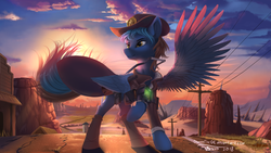 Size: 1920x1080 | Tagged: artist:discordthege, clothes, cloud, commission, cowboy hat, fallout equestria, hat, looking away, male, oc, oc:lightning flash, oc only, pegasus, pipboy, pipbuck, pony, raised hoof, safe, scenery, sheriff's badge, sky, smiling, solo, spread wings, stallion, stetson, sunset, telephone pole, wings