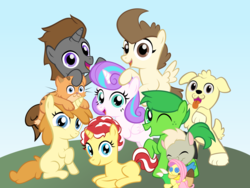 Size: 2000x1500 | Tagged: safe, artist:magerblutooth, fluttershy, pound cake, princess flurry heart, pumpkin cake, oc, oc:champ, oc:masquerade ball, oc:mayhem, oc:peppermint swirl, oc:tiger lily, oc:tree leaf, alicorn, cat, dog, earth pony, golden retriever, pegasus, pony, unicorn, fanfic:pound and pumpkin tales 2, alternate mane six, fanfic, fanfic art, mane six opening poses, older, plushie