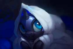 Size: 1200x810 | Tagged: :3, abstract background, alicorn, artist:rodrigues404, blanket, cute, female, filly, helmet, hiding, hnnng, looking up, moonabetes, nicemare moon, nightmare moon, nightmare woon, pony, rodrigues404 is trying to murder us, safe, smiling, solo