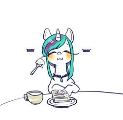 Size: 752x735 | Tagged: artist:mirululu, cake, food, oc, oc only, oc:turquiose scale, pony, safe, solo, tea, unicorn
