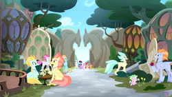 Size: 1280x720 | Tagged: safe, screencap, apple bloom, scootaloo, sweetie belle, terramar, twilight sparkle, alicorn, classical hippogriff, earth pony, hippogriff, pegasus, pony, unicorn, surf and/or turf, apple, background hippogriff, cutie mark crusaders, female, filly, food, gate, hippogriffia, mare, twilight sparkle (alicorn), unnamed hippogriff, youtube link