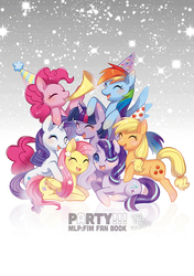 Size: 600x851 | Tagged: safe, artist:jannel300, applejack, fluttershy, pinkie pie, rainbow dash, rarity, starlight glimmer, twilight sparkle, alicorn, earth pony, pegasus, pony, unicorn, book cover, colored pupils, cover, eyes closed, female, group shot, happy, hat, mane six, mare, party hat, twilight sparkle (alicorn)