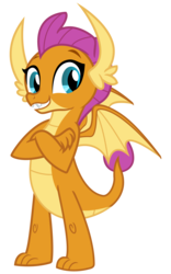 Size: 2000x3200 | Tagged: safe, artist:cheezedoodle96, smolder, dragon, school daze, .svg available, claws, crossed arms, dragon wings, dragoness, fangs, female, happy, looking at you, simple background, smiling, solo, svg, teeth, transparent background, vector, wings