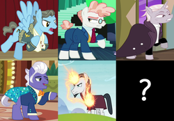 Size: 2202x1536 | Tagged: safe, screencap, chancellor neighsay, gladmane, svengallop, wind rider, zesty gourmand, earth pony, pegasus, pony, unicorn, rarity investigates, school daze, spice up your life, the mane attraction, viva las pegasus, antagonist, cropped, female, glowing horn, irredeemable, magic, male, mare, question mark, stallion