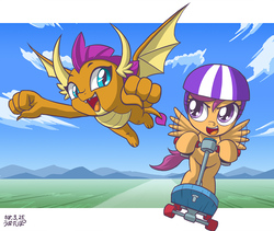 Size: 1000x845 | Tagged: safe, artist:uotapo, scootaloo, smolder, dragon, pegasus, pony, school daze, blue eyes, cloud, cute, cutealoo, dragon horns, dragoness, duo, fangs, female, filly, flying, helmet, horns, looking at you, open mouth, racing, scooter, smiling, smolderbetes, spread wings, wings