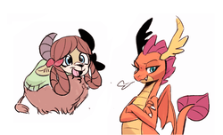 Size: 800x486 | Tagged: safe, artist:emina15966emina, smolder, yona, dragon, yak, school daze, claws, crossed arms, cute, dragon wings, dragoness, duo, fangs, female, horns, lidded eyes, looking at you, monkey swings, open mouth, simple background, smiling, smirk, smoke, smolderbetes, white background, wings, yonadorable
