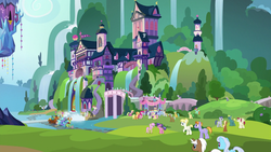 Size: 1920x1080 | Tagged: applejack, auburn vision, background pony, berry blend, berry bliss, changedling, changeling, citrine spark, clever musings, dark moon, dragon lord ember, earth pony, end zone, female, fire quacker, fluttershy, friendship student, grampa gruff, graphite, griffon, huckleberry, king thorax, lily, lily valley, linky, male, mare, mochaccino, november rain, pegasus, peppermint goldylinks, pinkie pie, ponet, pony, prince rutherford, princess ember, rainbow stars, raised hoof, rare find, rarity, safe, school daze, school of friendship, screencap, shoeshine, slate sentiments, spike, spoiler:s08e01, stallion, strawberry scoop, sugar cookie, sugar maple, summer meadow, tender brush, thorax, twilight's castle, unicorn, unnamed pony, violet twirl, winter lotus