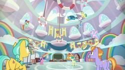 Size: 1920x1080 | Tagged: safe, screencap, auburn vision, berry blend, berry bliss, citrine spark, fire quacker, gallus, huckleberry, peppermint goldylinks, rainbow dash, sandbar, silverstream, smolder, classical hippogriff, dragon, earth pony, griffon, hippogriff, pegasus, pony, school daze, season 8, background pony, butt, cloud, coach, dragoness, female, flying, friendship always wins, friendship student, gym, hat, jewelry, male, mare, necklace, plot, rainbow, school of friendship, sports, stallion, whistle