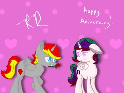 Size: 1024x768 | Tagged: safe, artist:rubydeluxe, derpibooru exclusive, oc, oc only, oc:holly dance, oc:rd, alicorn, abstract background, alicorn oc, blushing, cutie mark, ear fluff, female, flower, horn, love, lurv, male, neck fluff, rose, shading, wings
