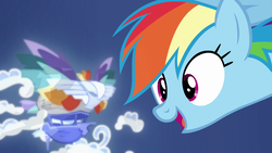 Size: 1280x720 | Tagged: airship, bust, celaeno's airship, cloud, continuity, female, hologram, mare, pony, portrait, rainbow dash, safe, school daze, screencap, solo