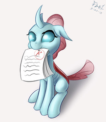 Size: 1300x1500 | Tagged: safe, artist:foughtdragon01, ocellus, changedling, changeling, school daze, a+, cute, daaaaaaaaaaaw, diaocelles, fangs, female, grades, hnnng, horn, looking up, mouth hold, nom, paper, simple background, sitting, smiling, solo, sweet dreams fuel, white background