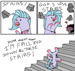 Size: 900x847 | Tagged: artist:kuroneko, classical hippogriff, crossing the memes, derpibooru exclusive, dialogue, female, hippogriff, implied queen novo, i'm so alone, it keeps happening, i warned you about stairs bro, king sombra, male, meme, ms paint, pony, safe, school daze, shipping, silverstream, sombra eyes, sombrastream, stairs, stallion, straight, stylistic suck, sweet bro and hella jeff, that hippogriff sure does love stairs, that pony sure does love stairs, this will end in tears and/or death, unicorn
