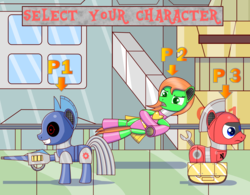 Size: 2000x1556   Tagged: safe, artist:trackheadtherobopony, oc, oc only, oc:gearbox, oc:goldheart, oc:trackhead, original species, pony, robot, robot pony, wheelpone, clothes, leotard, power plant, select your character, text, weapon