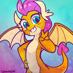 Size: 1588x1588 | Tagged: safe, artist:dawnfire, smolder, dragon, school daze, season 8, abstract background, cute, dragoness, fangs, female, grin, looking at you, peace sign, smiling, smolderbetes, solo, spread wings, victory sign, wings