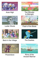 Size: 2300x3307 | Tagged: safe, edit, edited screencap, screencap, big macintosh, discord, double diamond, marble pie, night glider, party favor, pinkie pie, rainbow dash, soarin', sphinx (character), spike, spitfire, starlight glimmer, sugar belle, pony, sphinx, daring done?, dungeons and discords, hearthbreakers, lesson zero, my little pony: the movie, ppov, the cutie re-mark, to where and back again, boat, equal four, iron maiden, meme, pirate rainbow dash, powerslave (album), rainbow nuke, sword, weapon